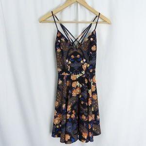 Bebe X Naven 0 Black strappy gold zipper Dress
